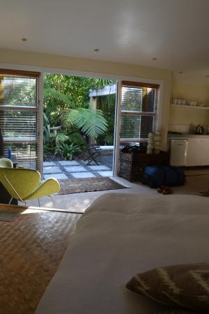 Indigo Bush Studios: View from the bed to the garden