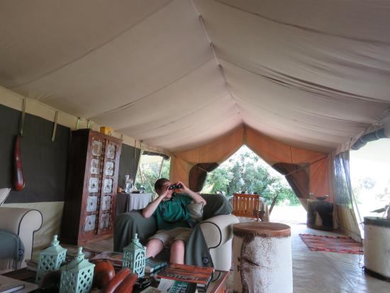 the dining area form the sitting area in the main camp tent rh tripadvisor co za