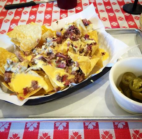 Mike Cotten's Bbq: Brisket cheese nachos . Served exclusively At the Portland location