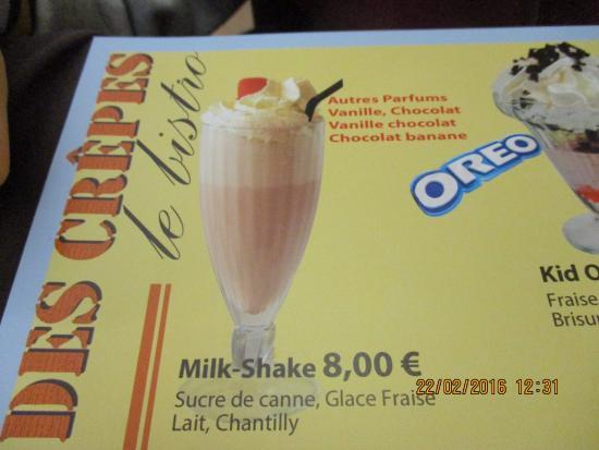Excellent Le Milk Shake Fraise Picture Of La Compagnie Des Crepes