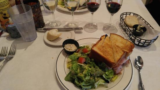 JJ's Liberty Bistro: Croque Monsieur sandwich with house salad and wine flight