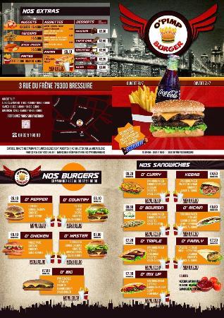 La carte de nos menus - Picture of O Pimp Burger, Bressuire ...