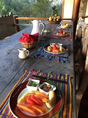 Blancaneaux Lodge: Complimentary breakfast, brought to our villa
