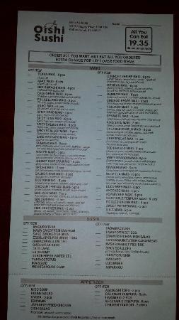 Ayce menu