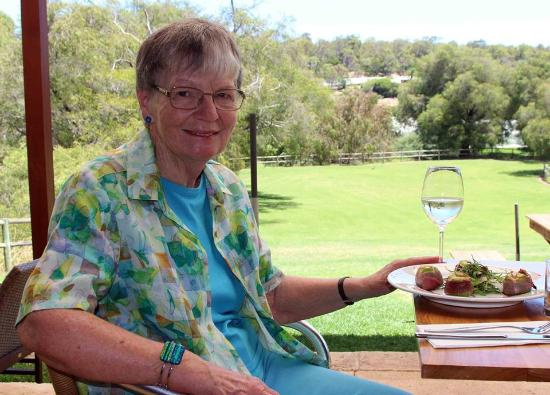 Dardanup, Australia: Figs wrapped in prosciutto, unwooded chardonnay and a delightfulview