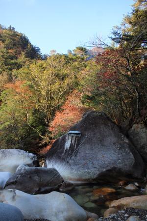 左岸を登ってきて、ワク塚コースは、右岸に渡るが、この渡渉点の橋は、流出し、この上流50m地点で、大石を飛び移る。もしくは、入水突破するが、先行の高齢者は、さらに大回りし、難儀していた。