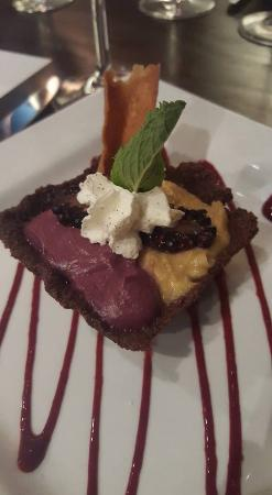89 Fish & Grill: 5th course: blackberry duet. A blackberry curd with creme carmel custard in a chocolate shell. S