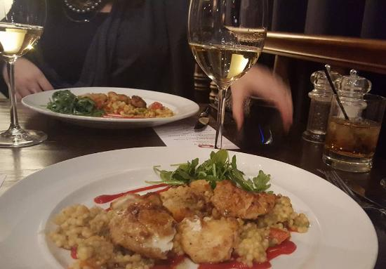 89 Fish & Grill : 2nd course: Grouper cheeks with an Israeli Cous Cous and red pepper syrup. Paired with the Talle