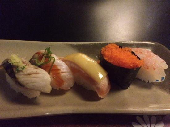 Kiyoshi - Sushi & Grill: Torched mackerel, salmon and Sea bass. Shrimp and Masago eggs