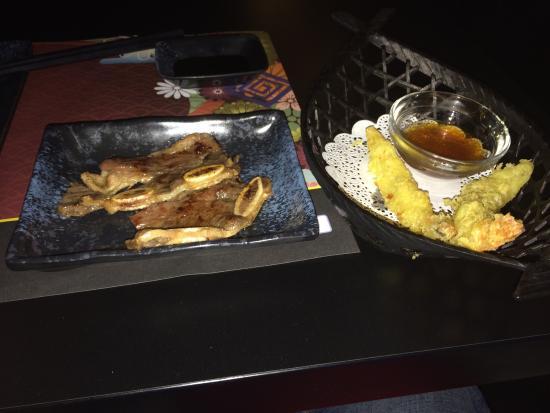 Kiyoshi - Sushi & Grill: Beef short ribs and shrimp tempura