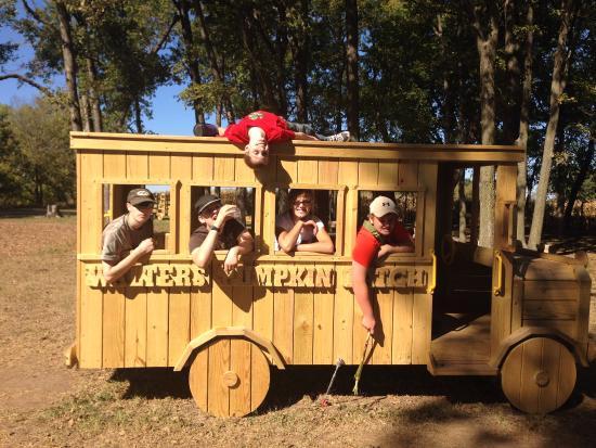 Burns, KS: Big kids even like the wooden bus.
