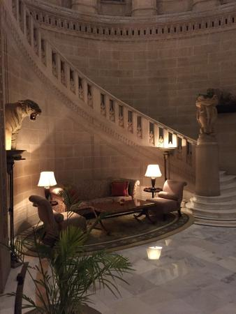 Umaid Bhawan Palace Jodhpur: The grand staircase - art deco splendour.