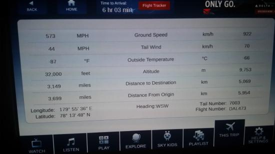 Delta Air Lines: About to cross the international dateline... up above near the north pole....