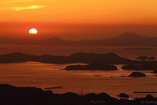 弓張岳展望台からの夕陽