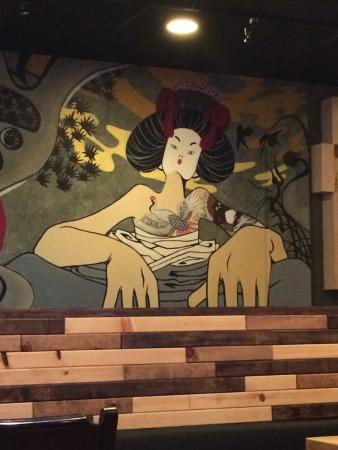 Sushi Neko: the wall decorated with a traditional Korean art