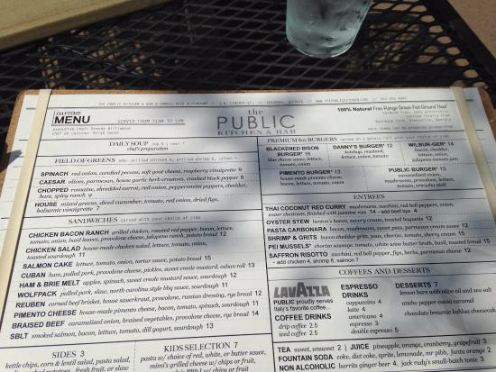 Menu in February, 2016 - Picture of The Public Kitchen & Bar ...