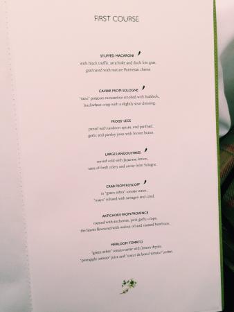 Restaurant Epicure Paris Menu