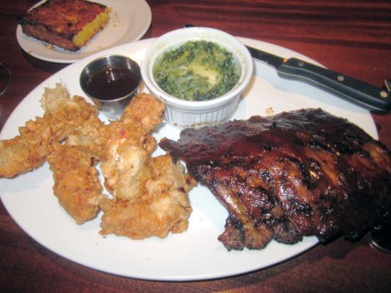 J B Dawson's Restaurant & Bar: Texas Tenders & Ribs w/ Creamed Spinach