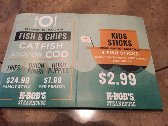 K-BOB'S Steakhouse Rockport: Newly remodeled with specials. Alfred the manager was very friendly and our server Sheila was gr