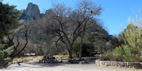 Cave Creek Ranch: View of canyon walls and bird feeding area at the ranch