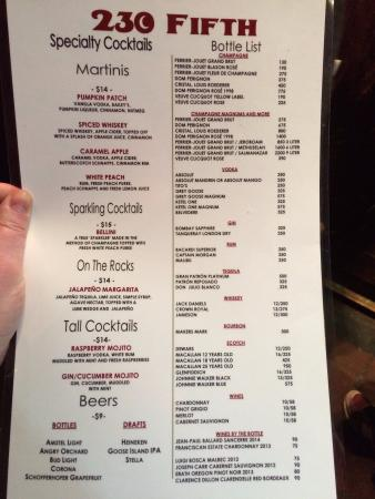 The menu - Picture of 230 Fifth, New York City - TripAdvisor