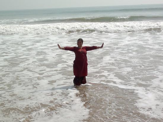 Standing In Midst Of Puri Sea Beach Picture
