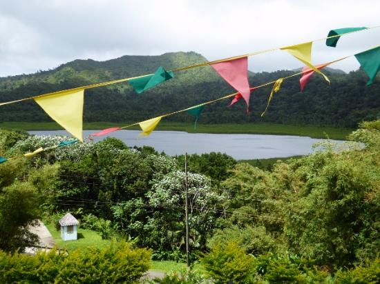 Grand Etang Lake: The lake from outside the bunting clad visitors' centre.