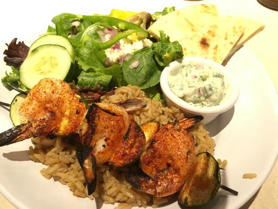 Newport News, VA: Shrimp kebabs, chicken kebabs and greek chicken