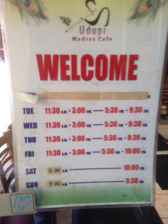Udupi Madras Cafe Mississauga Hours