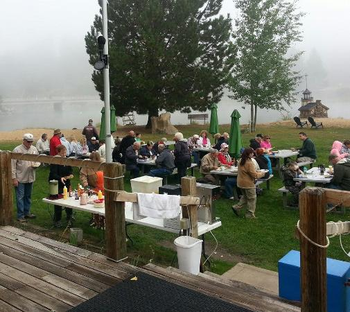Cascade, ID: Even on foggy mornings in May we love eating outside beside the Payette River