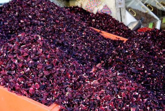 Sharia el Souk: ...dried hibiscus, boiled to make the drink Karkade...