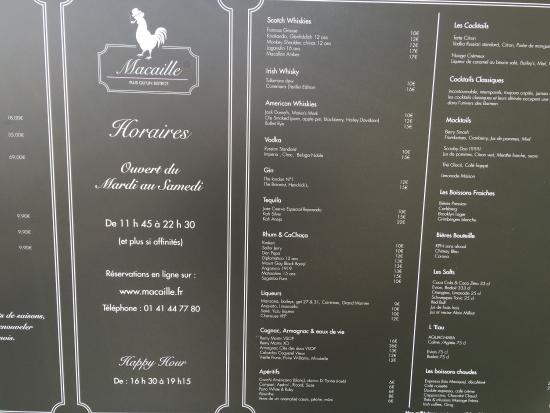 Menu Restaurant Macaille Suresnes