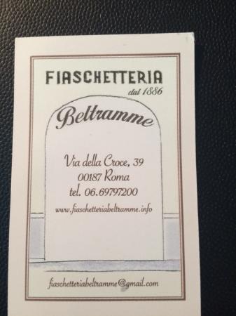 Fiaschetteria Beltramme Carte De Visite