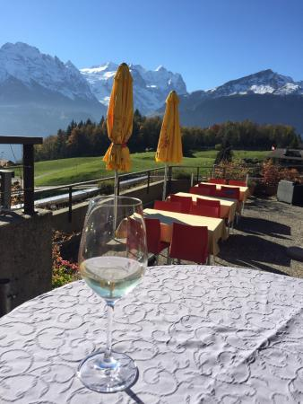 Hotel Gletscherblick : Enjoying a glass on local wine on sunny terrace