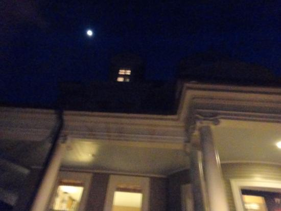 Aurora, NY: full moon over the front door of the Rowland house