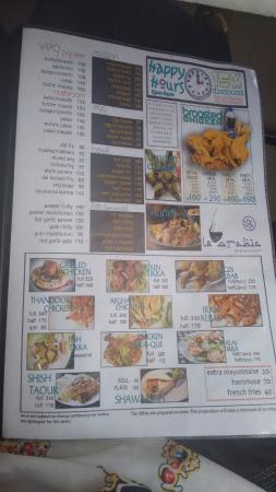 Card pio picture of le arabia restaurant trivandrum for Arabian cuisine menu