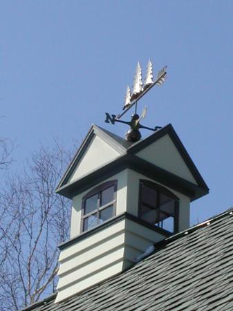 Three Pines Bed & Breakfast and Farm: Three Pines weathervane mounted over garage