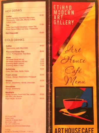 The Art House Cafe Menu
