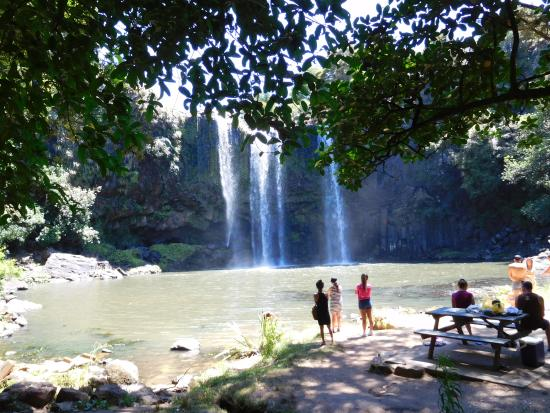 Whangarei, New Zealand: This shows the lovely swimming hole under the falls.