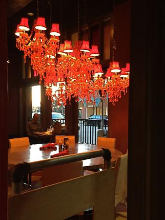 Rojo red chandeliers picture of rojo mexican bistro birmingham rojo mexican bistro rojo red chandeliers aloadofball Choice Image