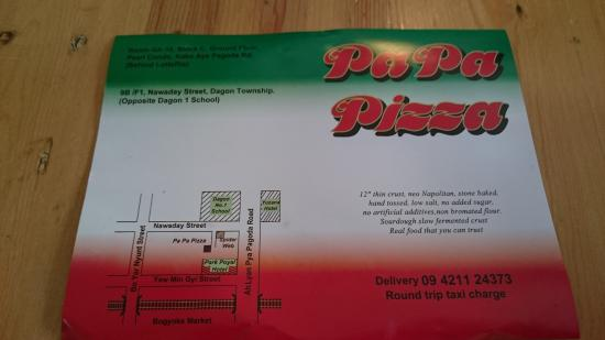 Pa Pa Pizza: Back of menu with map. The restaurant is not easy to find.