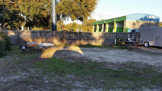 St. Augustine Beach KOA : Empty spots behind us, view of businesses towards A1A.