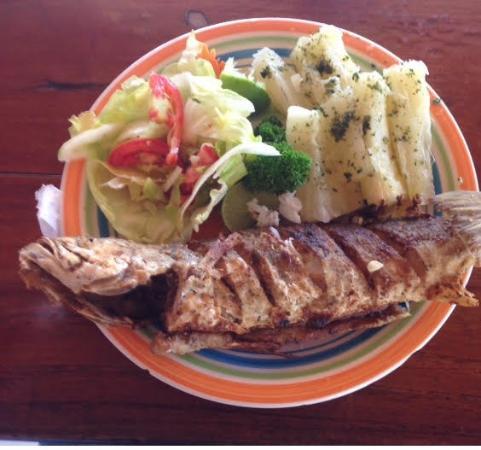 El Palmar, Panama: Corvina frita, yuca al mojo y ensalada