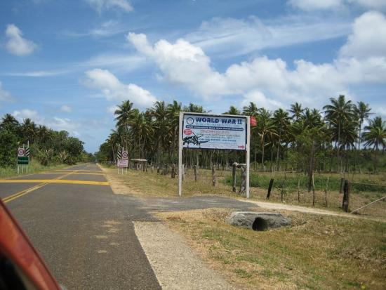 Efate, Vanuatu: sign at the turn-off from Highway A1 Paonangisu Village