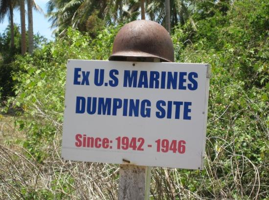 Efate, Vanuatu: sign near the World War II Museum, Paonangisu Village