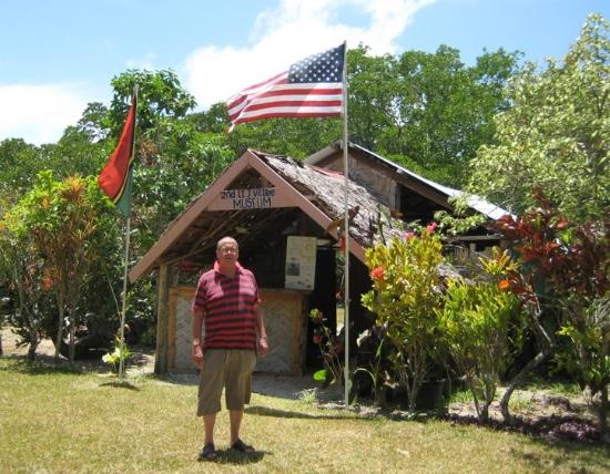 Efate, Vanuatu: Jon. D standing at the entry to the ''fabulous'' World War II Museum