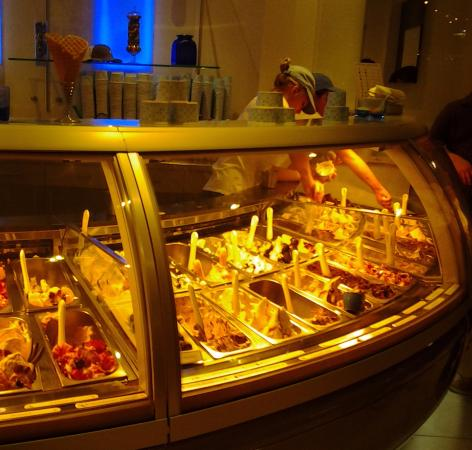 Frost Gelato: Display case of the many varieties of gelato.