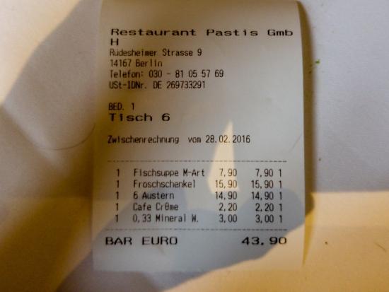 Restaurant Pastis: Rechnung für Pastis Restaurant Besuch