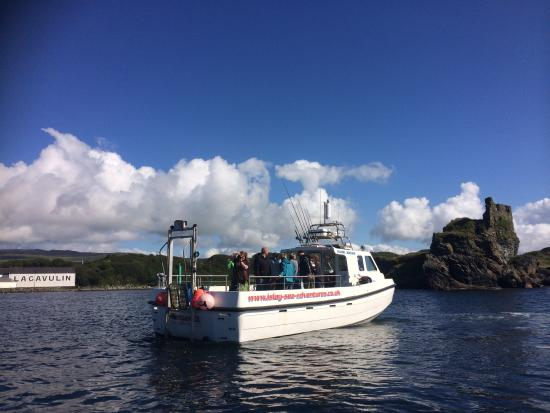 Islay Sea Adventures : Dunyvaig castle with Lagavulin distillery