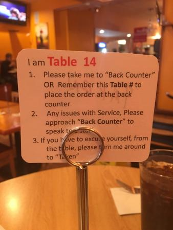 Chaang Thai: Remember your table number or take the sign with you when you order. Pay when you order.